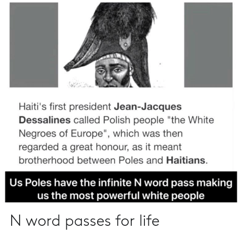 """Life, White People, and Europe: Haiti's first president Jean-Jacques  Dessalines called Polish people """"the White  Negroes of Europe"""", which was then  regarded a great honour, as it meant  brotherhood between Poles and Haitians  Us Poles have the infinite N word pass making  us the most powerful white people N word passes for life"""