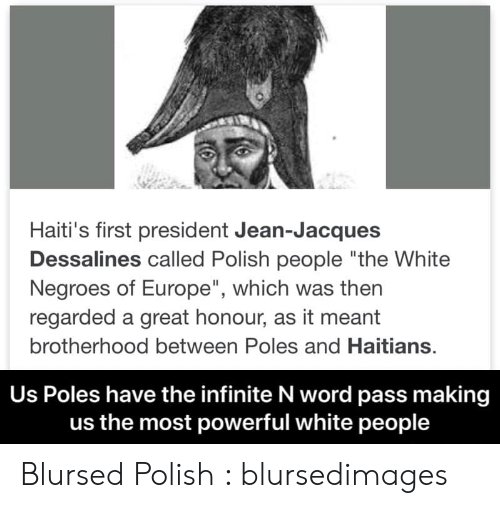 """Polish People: Haiti's first president Jean-Jacques  Dessalines called Polish people """"the White  Negroes of Europe"""", which was then  regarded a great honour, as it meant  brotherhood between Poles and Haitians.  Us Poles have the infinite N word pass making  us the most powerful white people Blursed Polish : blursedimages"""