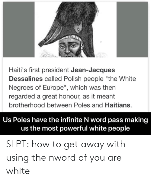 """Polish People: Haiti's first president Jean-Jacques  Dessalines called Polish people """"the White  Negroes of Europe"""", which was then  regarded a great honour, as it meant  brotherhood between Poles and Haitians.  Us Poles have the infinite N word pass making  us the most powerful white people SLPT: how to get away with using the nword of you are white"""