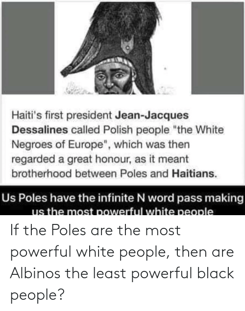 """Polish People: Haiti's first president Jean-Jacques  Dessalines called Polish people """"the White  Negroes of Europe"""", which was then  regarded a great honour, as it meant  brotherhood between Poles and Haitians.  Us Poles have the infinite N word pass making  us the most powerful white people If the Poles are the most powerful white people, then are Albinos the least powerful black people?"""