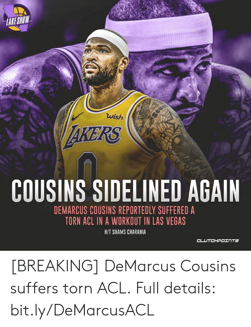 DeMarcus Cousins: HAKE SHOW  wish  Stuop  AKERS  COUSINS SIDELINED AGAIN  ghe Ga  DEMARCUS COUSINS REPORTEDLY SUFFERED A  TORN ACL IN A WORKOUT IN LAS VEGAS  H/T SHAMS CHARANIA  CLUTCHPOINTS [BREAKING] DeMarcus Cousins suffers torn ACL.  Full details: bit.ly/DeMarcusACL