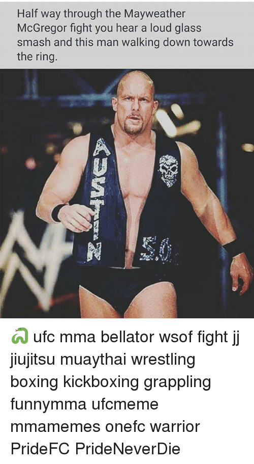 Louding: Half way through the Mayweather  McGregor fight you hear a loud glass  smash and this man walking down towards  the ring 🐍 ufc mma bellator wsof fight jj jiujitsu muaythai wrestling boxing kickboxing grappling funnymma ufcmeme mmamemes onefc warrior PrideFC PrideNeverDie
