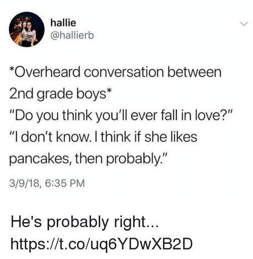 "Fall, Funny, and Love: hallie  @hallierb  *Overheard conversation between  2nd grade boys*  ""Do you think you'll ever fall in love?""  ""I don't know. I think if she likes  pancakes, then probably.""  3/9/18, 6:35 PM He's probably right... https://t.co/uq6YDwXB2D"