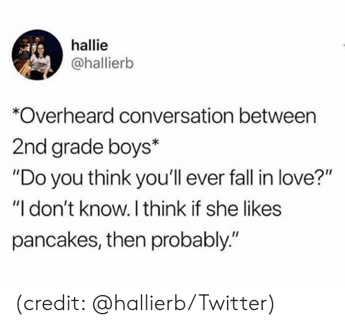 "Dank, Love, and Twitter: hallie  @hallierb  Overheard conversation between  2nd grade boys*  ""Do you think you'll ever fal in love?""  ""I don't know. I think if she likes  pancakes, then probably."" (credit: @hallierb/Twitter)"