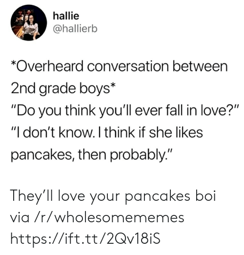"""Fall, Love, and Boys: hallie  @hallierb  *Overheard conversation between  2nd grade boys*  """"Do you think you'll ever fall in love?""""  """"I don't know. I think if she likes  pancakes, then probably."""" They'll love your pancakes boi via /r/wholesomememes https://ift.tt/2Qv18iS"""