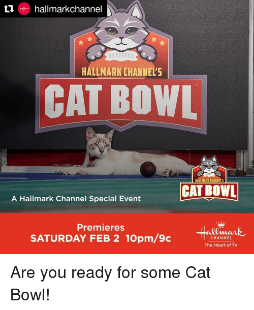 Hallmarkchannel: ++ hallmarkchannel  HALLMARK CHANNEL'  TM  CAT BOWL  HALLMARK CHANNEL'S  CAT BOWL  A Hallmark Channel Special Event  Premieres  SATURDAY FEB 2 10pm/9c  CHANNEL  The Heart of TV