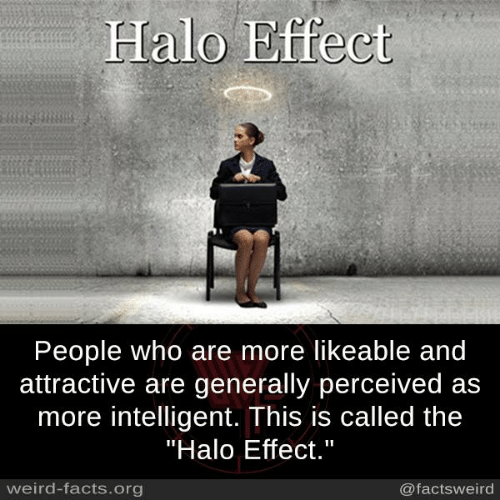 "Facts, Halo, and Memes: Halo Effect  People who are more likeable and  attractive are generally perceived as  more intelligent. This is called the  ""Halo Effect.""  weird-facts.org  @factsweird"