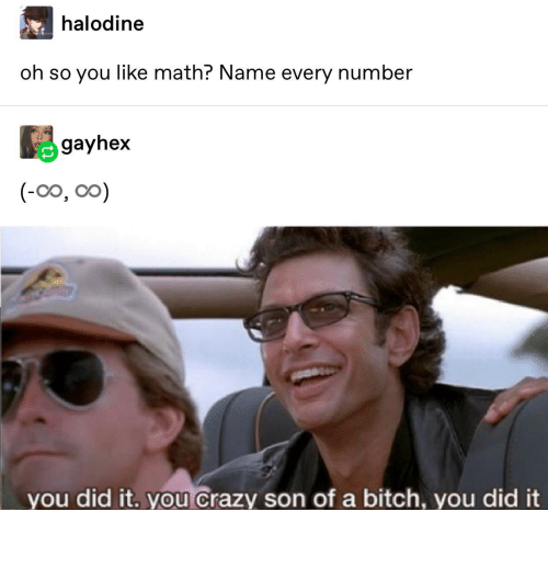 you did it: halodine  oh so you like math? Name every number  gayhex  (-0o, oo)  you did it. you crazy son of a bitch, you did it it really do be like that