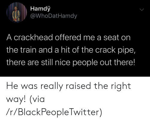 Blackpeopletwitter, Crackhead, and Train: Hamdy  @WhoDatHamdy  A crackhead offered me a seat on  the train and a hit of the crack pipe,  there are still nice people out there! He was really raised the right way! (via /r/BlackPeopleTwitter)