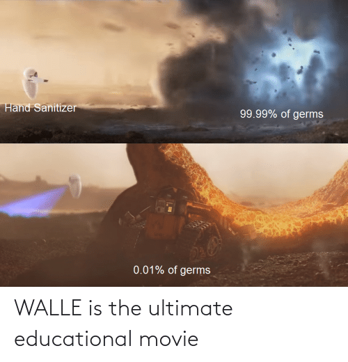 walle: Hand Sanitizer  99.99% of germs  0.01% of germs WALLE is the ultimate educational movie