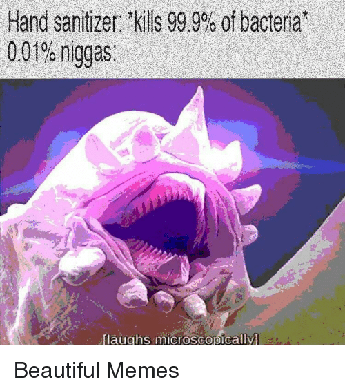"""hand sanitizer: Hand sanitizer: tkills 99.9% of bacteria""""  0.01% niggas.  laughs microscopically Beautiful Memes"""