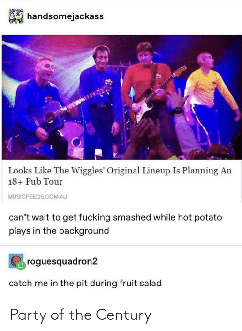Fucking, Party, and Potato: handsomejackass  Looks Like The Wiggles' Original Lineup Is Planning An  18+ Pub Tour  MUSICFEEDS.COM.AU  can't wait to get fucking smashed while hot potato  plays in the background  roguesquadron2  catch me in the pit during fruit salad Party of the Century