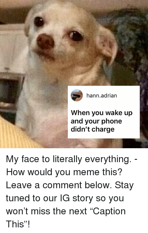 "Comment Below: hann.adrian  When you wake up  and your phone  didn't charge My face to literally everything. - How would you meme this? Leave a comment below. Stay tuned to our IG story so you won't miss the next ""Caption This""!"