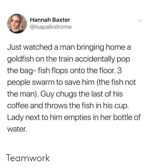 3 People: Hannah Baxter  @lsapalindrome  Just watched a man bringing home a  goldfish on the train accidentally pop  the bag- fish flops onto the floor.3  people swarm to save him (the fish not  the man). Guy chugs the last of his  coffee and throws the fish in his cup  Lady next to him empties in her bottle of  water. Teamwork