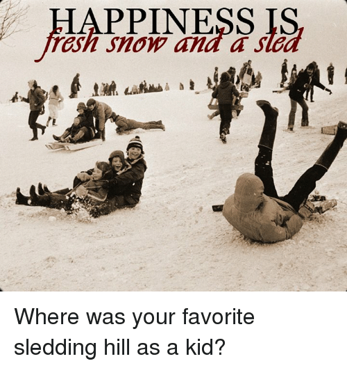 Memes, Snow, and 🤖: HAPPINESS IS  rash Snow and a sle Where was your favorite sledding hill as a kid?