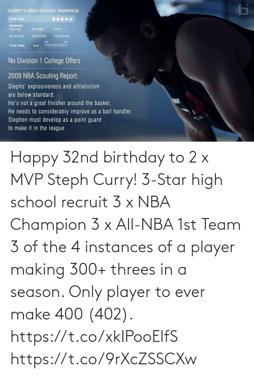 ever: Happy 32nd birthday to 2 x MVP Steph Curry!   3-Star high school recruit 3 x NBA Champion 3 x All-NBA 1st Team 3 of the 4 instances of a player making 300+ threes in a season. Only player to ever make 400 (402).   https://t.co/xkIPooElfS https://t.co/9rXcZSSCXw