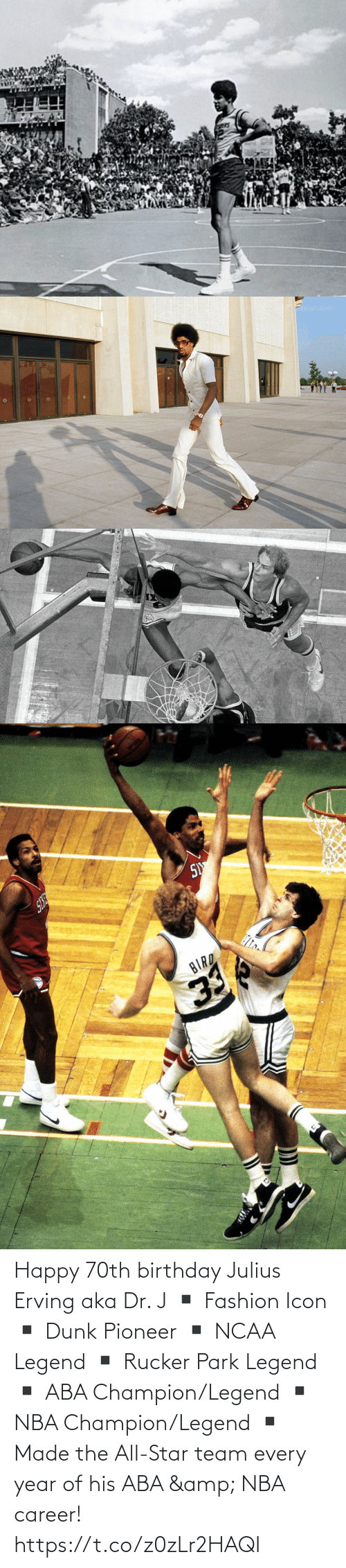 Fashion: Happy 70th birthday Julius Erving aka Dr. J  ▪️ Fashion Icon ▪️ Dunk Pioneer ▪️ NCAA Legend ▪️ Rucker Park Legend ▪️ ABA Champion/Legend ▪️ NBA Champion/Legend ▪️ Made the All-Star team every year of his ABA & NBA career! https://t.co/z0zLr2HAQI