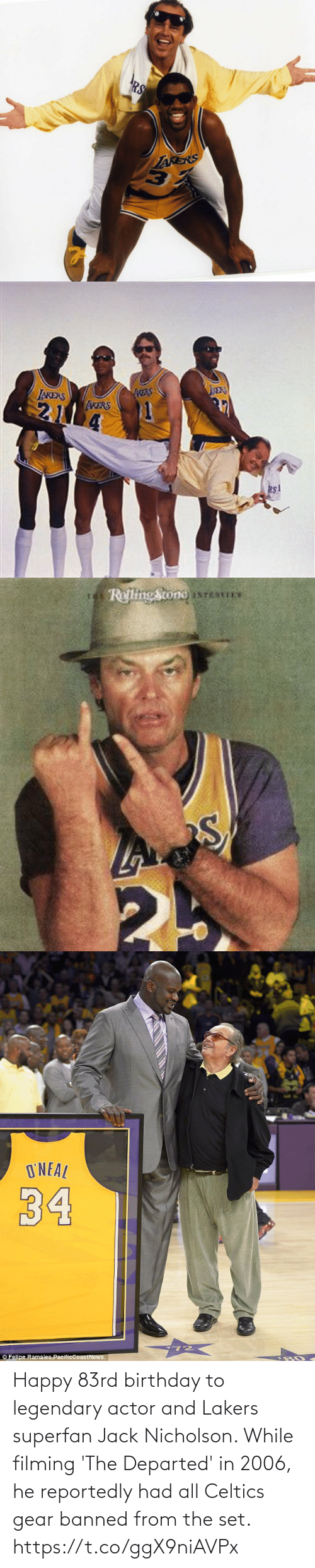 set: Happy 83rd birthday to legendary actor and Lakers superfan Jack Nicholson.   While filming 'The Departed' in 2006, he reportedly had all Celtics gear banned from the set. https://t.co/ggX9niAVPx