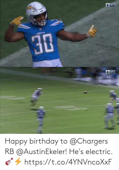 hes: Happy birthday to @Chargers RB @AustinEkeler!  He's electric. 🎸⚡️ https://t.co/4YNVncoXxF