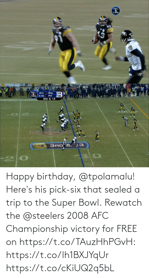 Afc Championship: Happy birthday, @tpolamalu! Here's his pick-six that sealed a trip to the Super Bowl.  Rewatch the @steelers 2008 AFC Championship victory for FREE on https://t.co/TAuzHhPGvH: https://t.co/lh1BXJYqUr https://t.co/cKiUQ2q5bL