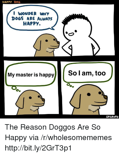 Dogs, Happy, and Http: HAPPY DOG  I WONDER WHY  DOGS ARE ALWAYS  HAPPY.  My master is happy  So l am, too  SRGRAFO The Reason Doggos Are So Happy via /r/wholesomememes http://bit.ly/2GrT3p1