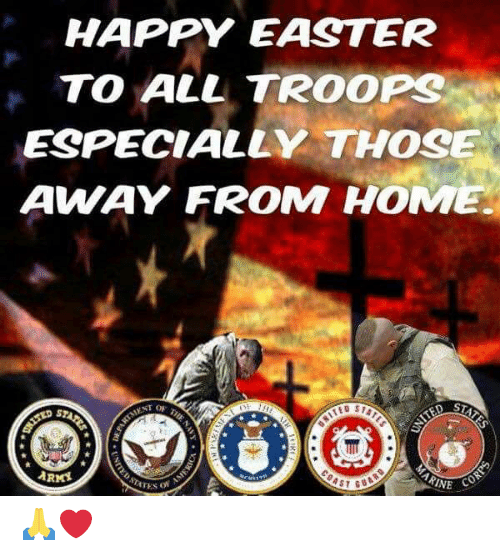 Easter, Memes, and Happy: HAPPY EASTER  TO ALL TROOPS  ESPECIALLY THOSE  AWAY FROM HOME 🙏❤️