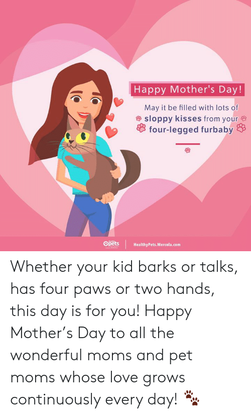 Love, Memes, and Moms: Happy Mother's Day!  May it be filled with lots of  & sloppy kisses from your  four-legged furbaby  Spets HealthyPets.Mercola.com Whether your kid barks or talks, has four paws or two hands, this day is for you! Happy Mother's Day to all the wonderful moms and pet moms whose love grows continuously every day! 🐾
