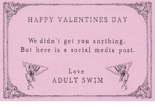Dank, 🤖, and Adultism: HAPPY VALENTINES DAY  We didn't get you anything.  But here is a social media post.  Love  ADULT SWIM