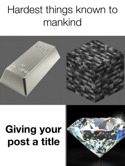 Mankind, Post, and  Things: Hardest things known to  mankind  9199 8  :  FhE  TITANUM  Giving your  post a title