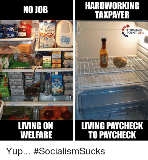 Memes, Living, and 🤖: HARDWORKING  TAXPAYER  NO JOB  Slk  Pur Purelmond  TURNING  POINT USA  on  LIVING ON  WELFARE  LIVING PAYCHECK  TO PAYCHECK Yup... #SocialismSucks
