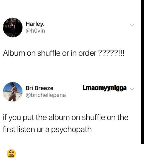 Memes, Harley, and 🤖: Harley.  @hOvin  GE  Album on shuffle or in order?????!!!  Bri Breeze  @brichellepena  Lmaomyynigga  if you put the album on shuffle on the  first listen ur a psychopath 😩