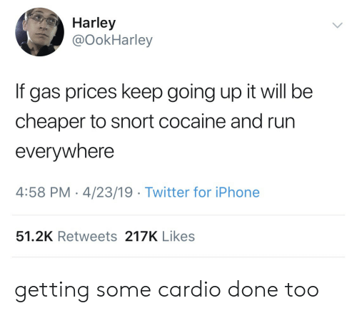 cheaper: Harley  @OokHarley  If gas prices keep going up it will be  cheaper to snort cocaine and run  everywhere  4:58 PM-4/23/19 Twitter for iPhone  51.2K Retweets 217K Likes getting some cardio done too