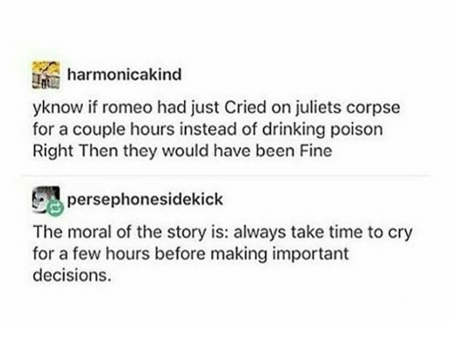 Drinking, Time, and Decisions: harmonicakind  yknow if romeo had just Cried on juliets corpse  for a couple hours instead of drinking poison  Right Then they would have been Fine  persephonesidekick  The moral of the story is: always take time to cry  for a few hours before making important  decisions