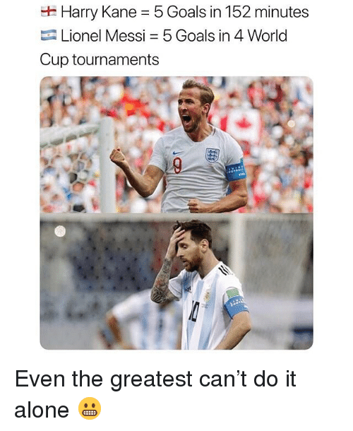 Being Alone, Goals, and Soccer: Harr  Lionel Messi  y Kane  5 Goals in 152 minutes  5 Goals in 4 World  Cup tournaments Even the greatest can't do it alone 😬