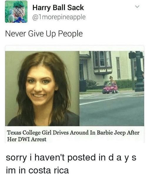 harried: Harry Ball Sack  almore pineapple  Never Give Up People  Texas College Girl Drives Around In Barbie Jeep After  Her DWI Arrest sorry i haven't posted in d a y s im in costa rica