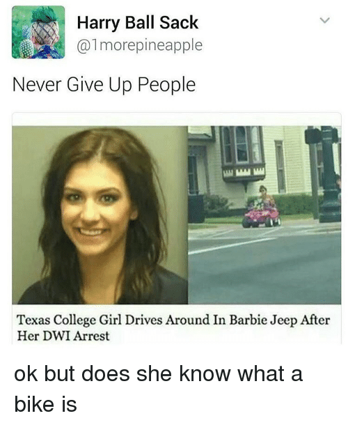 harried: Harry Ball Sack  more pineapple  Never Give Up People  Texas College Girl Drives Around In Barbie Jeep After  Her DWI Arrest ok but does she know what a bike is