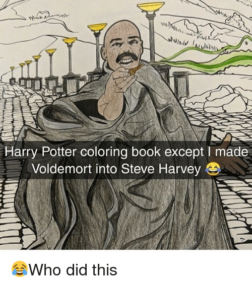 Coloring Book: Harry Potter coloring book except I made  Voldemort into Steve Harvey 😂Who did this