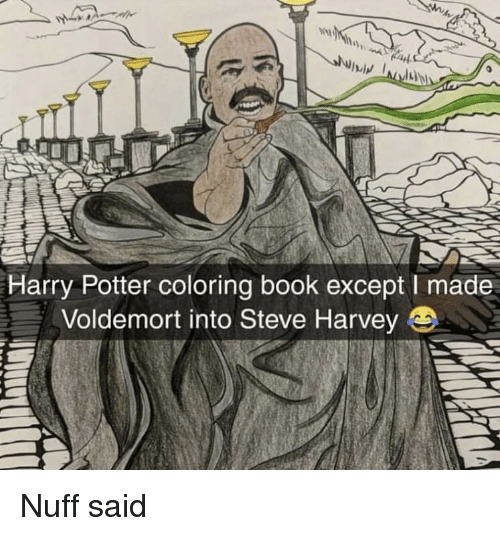 Coloring Book: Harry Potter coloring book except I made  Voldemort into Steve Harvey Nuff said
