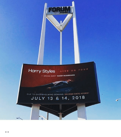 Memes, Date, and Harry Styles: Harry Styles  E ON TOUR  SPECIAL OUEST KACEY  RAVES  DUE TO OVERWHELMING DEMAND, SECOND DATE ADDED!  JULY 13 & 14, 20 18 ..