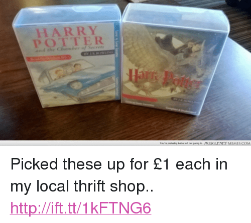 """thrift shop: HARRY  You're probably better off not going to  MUGGLENET MEMES.COM <p>Picked these up for £1 each in my local thrift shop.. <a href=""""http://ift.tt/1kFTNG6"""">http://ift.tt/1kFTNG6</a></p>"""