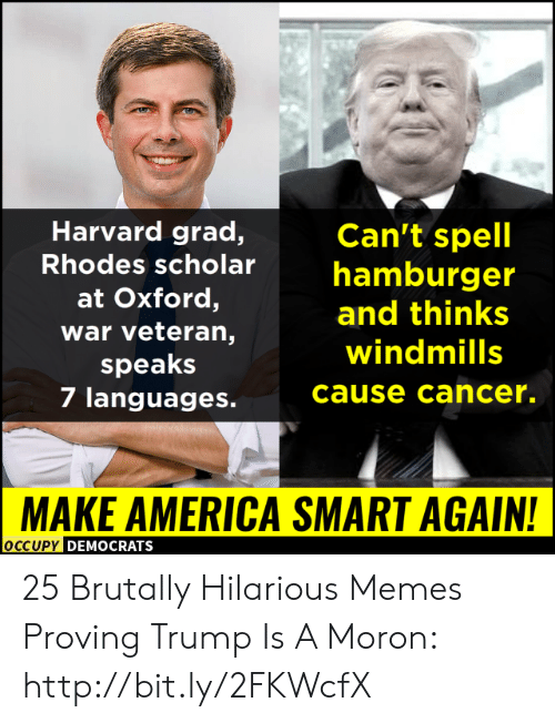 rhodes: Harvard grad,  Can't spell  Rhodes scholarhamburger  at Oxford,  war veteran,  speaks  7 languages.  and thinks  windmills  cause cancer.  MAKE AMERICA SMART AGAIN!  OCCUPy DEMOCRATS 25 Brutally Hilarious Memes Proving Trump Is A Moron: http://bit.ly/2FKWcfX