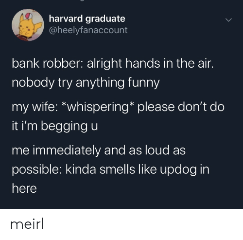 begging: harvard graduate  @heelyfanaccount  bank robber: alright hands in the air.  nobody try anything funny  my wife: *whispering* please don't do  it i'm begging u  me immediately and as loud as  possible: kinda smells like updog in  here meirl