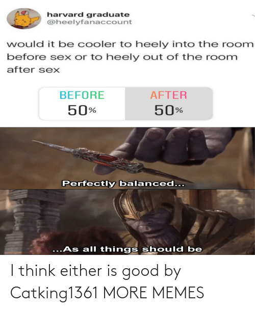 Either: harvard graduate  @heelyfanaccount  would it be cooler to heely into the room  before sex or to heely out of the room  after sexX  BEFORE  AFTER  50%  50%  Perfectly balanced...  ...As all things should be I think either is good by Catking1361 MORE MEMES