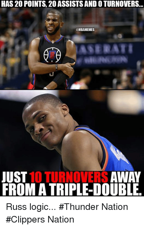 Logicalness: HAS 20 POINTS, 20 ASSISTSAND O TURNOVERS...  CONBAMEMES  JUST  10 TURNOVERS  AWAY  FROMA TRIPLE-DOUBLE. Russ logic... #Thunder Nation #Clippers Nation