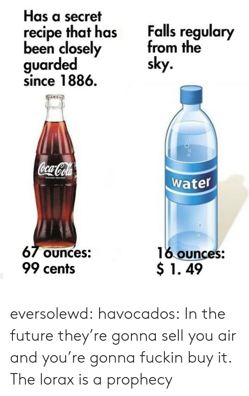 Coca-Cola, Future, and Tumblr: Has a secret  Falls regulary  from the  sky  recipe that has  been closely  guarded  since 1886.  Coca Cola  water  67 Ounces:  99 cents  16 ounces:  $1.49 eversolewd: havocados:  In the future they're gonna sell you air and you're gonna fuckin buy it.  The lorax is a prophecy