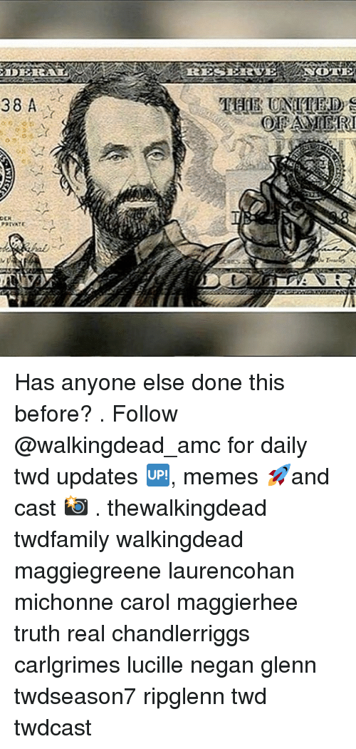 Memes, Truth, and 🤖: Has anyone else done this before? . Follow @walkingdead_amc for daily twd updates 🆙, memes 🚀and cast 📸 . thewalkingdead twdfamily walkingdead maggiegreene laurencohan michonne carol maggierhee truth real chandlerriggs carlgrimes lucille negan glenn twdseason7 ripglenn twd twdcast