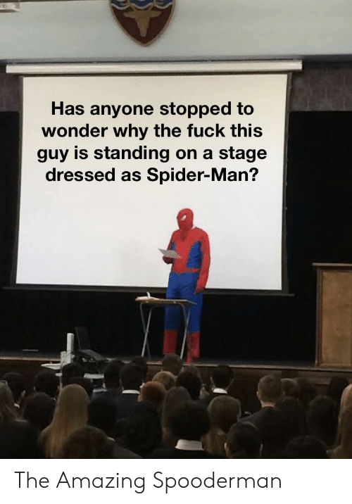 Spider, SpiderMan, and Fuck: Has anyone stopped to  wonder why the fuck this  guy is standing on a stage  dressed as Spider-Man? The Amazing Spooderman