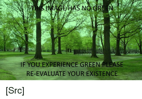 evaluate: HAS NO.GRE N  IF YOU EXPERIENCE GREEN PLEASE  RE-EVALUATE YOUR EXISTENCE [Src]