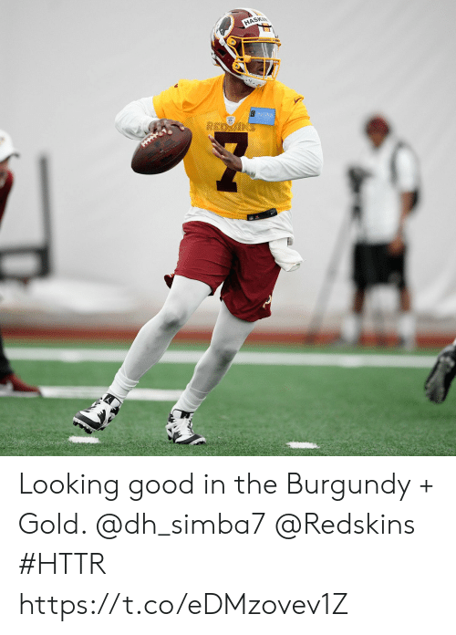 Memes, Washington Redskins, and Good: HASKIN Looking good in the Burgundy + Gold. @dh_simba7 @Redskins   #HTTR https://t.co/eDMzovev1Z