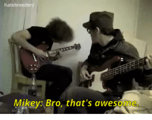 Awesome, Bro, and Mikey: hatebreederz  Mikey: Bro, that's awesome.